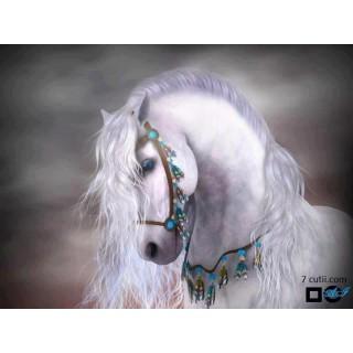 Goblen de diamante - Cal alb, cu capastru albastru