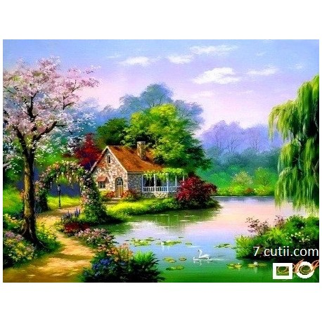 Goblen de diamante - Casa cu arc de trandafiri