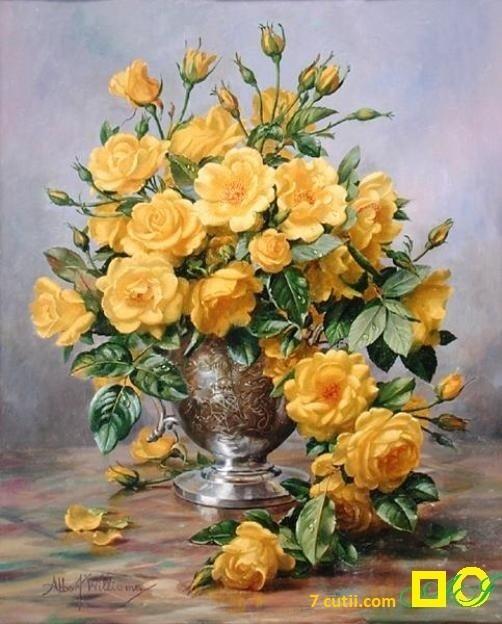 Goblen de diamante - Trandafiri galbeni: Dimensiuni si tip - 30x24 cm Margele Rotunde