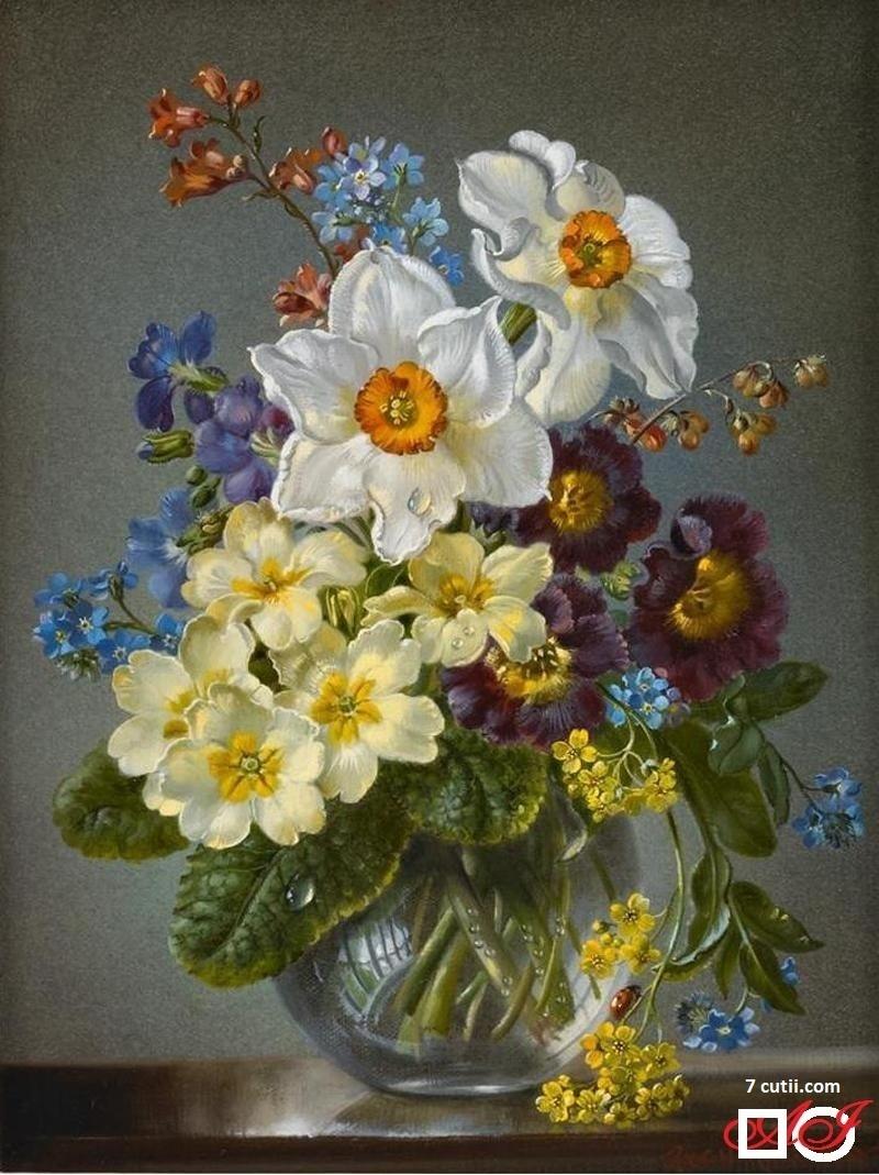 Goblen de diamante - Flori de primăvară: Dimensiuni si tip - 28x21 cm Margele Patrate