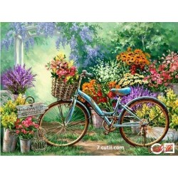 Goblen de diamante - Primavara - plimbare cu bicicleta