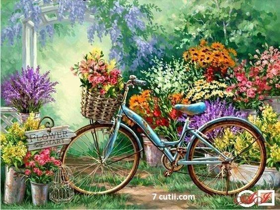 Goblen de diamante - Primavara - plimbare cu bicicleta: Dimensiuni si tip - 28x21 cm Margele Patrate