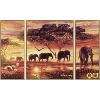Panou de diamante - Elefanti in savana