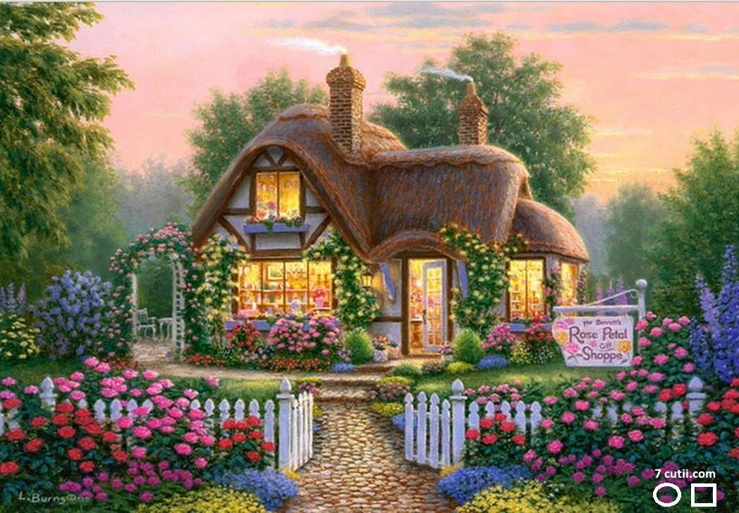 Goblen de diamante - Casa floraresei: Dimensiuni si tip - 32x24 cm Margele Patrate