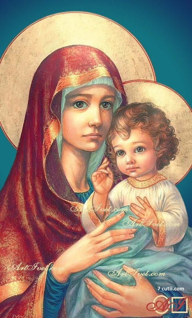 Goblen de diamante - Mama Maria si micul Isus: Dimensiuni si tip - 40x25 cm Margele Rotunde