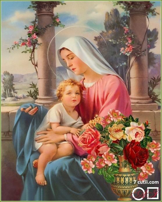 Goblen de diamante - Maria si Isus - Linistea binecuvantata: Dimensiuni si tip - 30x24 cm Margele Rotunde