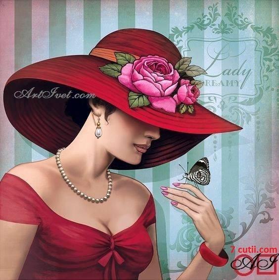 Goblen de diamante - Doamna cu fluturele: Dimensiuni si tip - 20x20 cm Margele Rotunde
