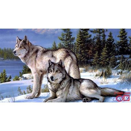 Goblen de diamante - Doi lupi in zapada