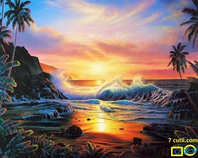 Goblen de diamante - Plaja sudica: Dimensiuni si tip - 40x30 cm Margele Patrate