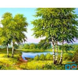Goblen de diamante - Malul lacului cu barca