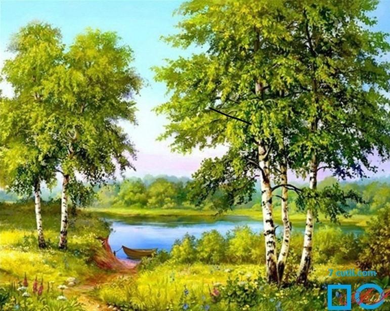 Goblen de diamante - Malul lacului cu barca: Dimensiuni si tip - 30x24 cm Margele Patrate