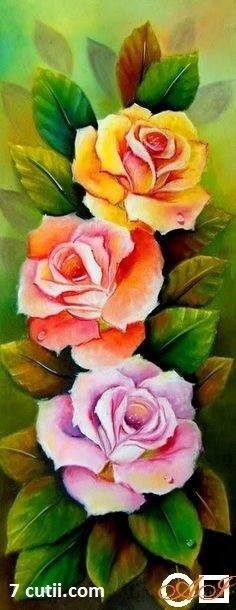 Goblen de diamante - Binedispusa si cu trei trandafiri: Dimensiuni si tip - 50x20 cm Margele Rotunde
