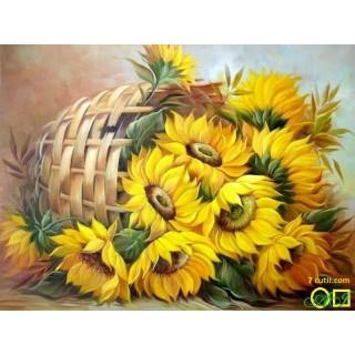 Goblen de diamante - Cos cu flori luminate de soare