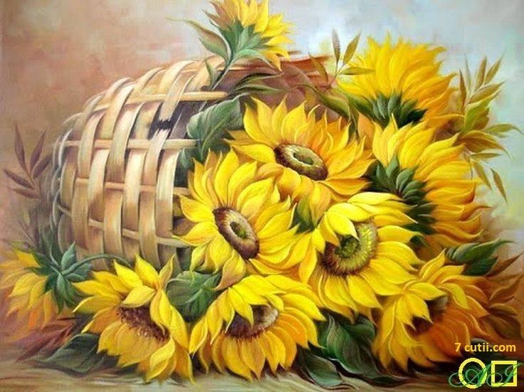 Goblen de diamante - Cos cu flori luminate de soare: Dimensiuni si tip - 32x24 cm Margele Patrate