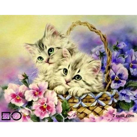 Goblen de diamante - Doua pisicute intr-un cos cu flori