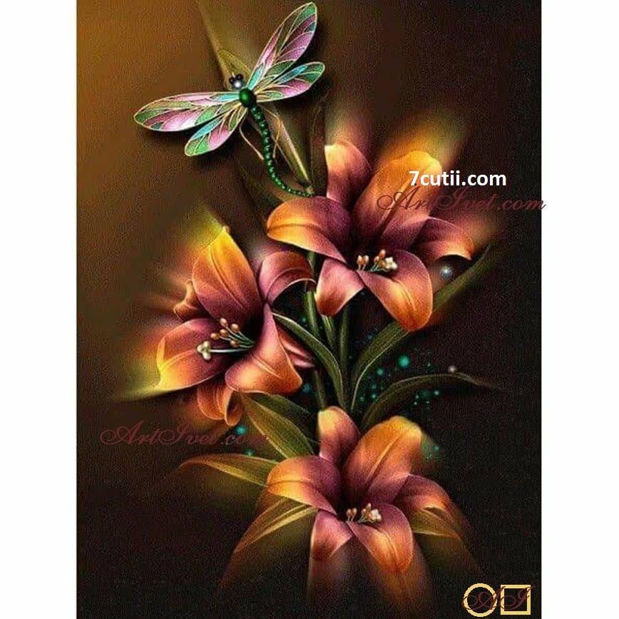 Goblen de diamante - Flori  focoase: Dimensiuni si tip - 28x21 cm Margele Rotunde (Circulare)