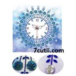 Goblen de diamante - Ceas de perete lux - IN ALBASTRU