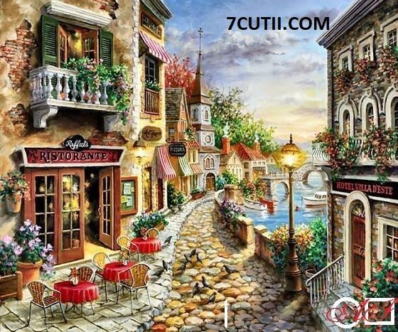 Goblen de diamante - Restaurant romantic pe straduta de pe coasta: Dimensiuni si tip - 28x23 cm Margele Patrate