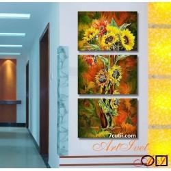 Panou de diamante - Floarea soarelui imbratisata de toamna