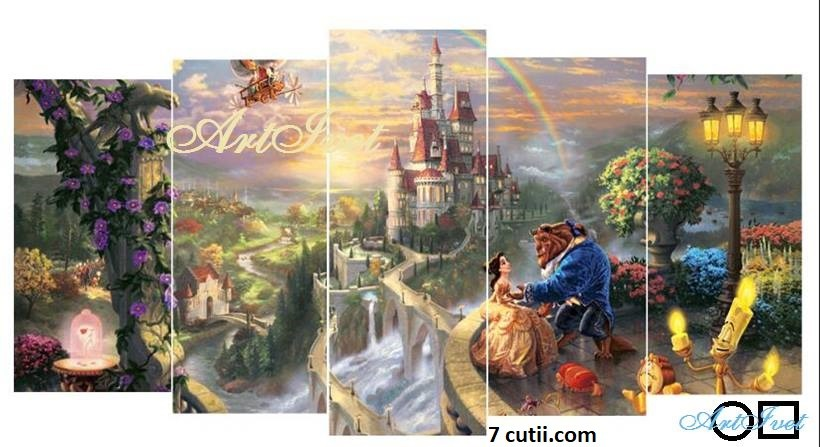 Panou de diamante - Frumoasa si bestia - lumea povestilor: Dimensiuni de gabarit - Margele  Patrate   65x133cm.