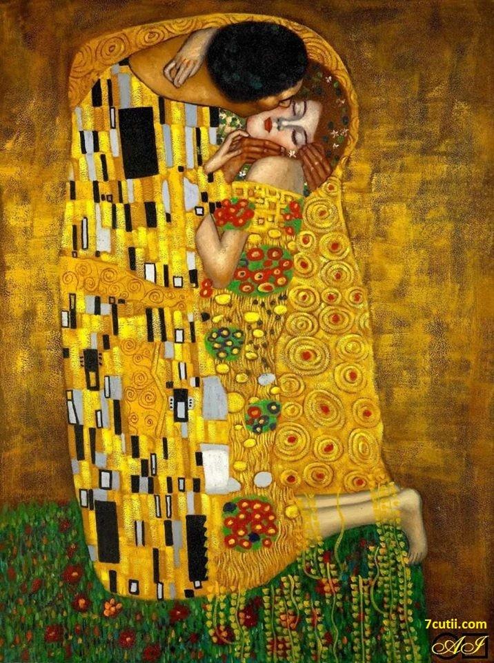 Goblen de diamante - Sarutul - dupa imaginea lui Gustav Klimt: Dimensiuni si tip - 28x21 cm Margele Patrate