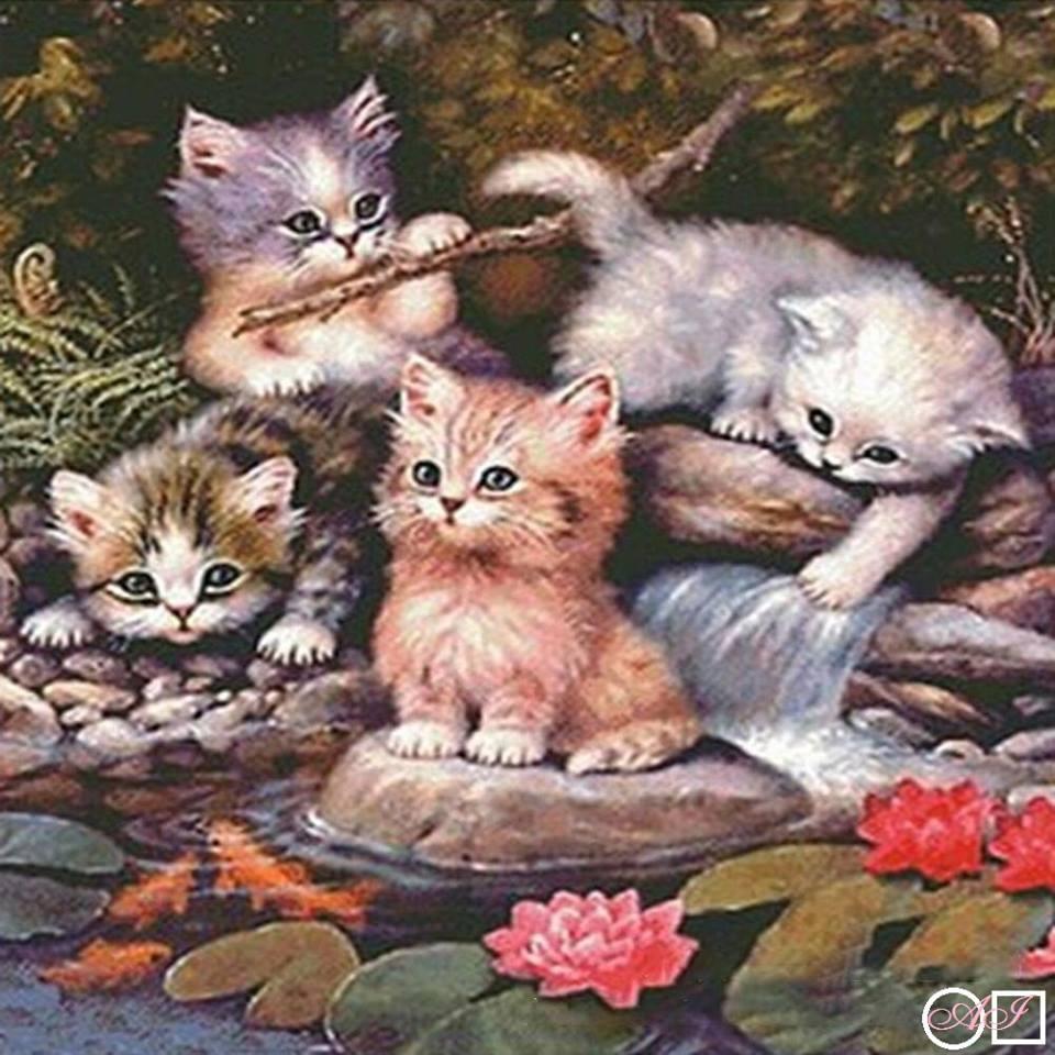 Goblen de diamante - Pisicutele se joaca la malul raului: Dimensiuni si tip - 40x40 cm Margele Rotunde (Circulare)