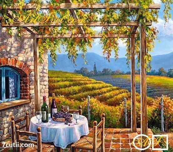 Goblen de diamante - Casa printre viticole: Dimensiuni si tip - 40x32 cm Margele Patrate