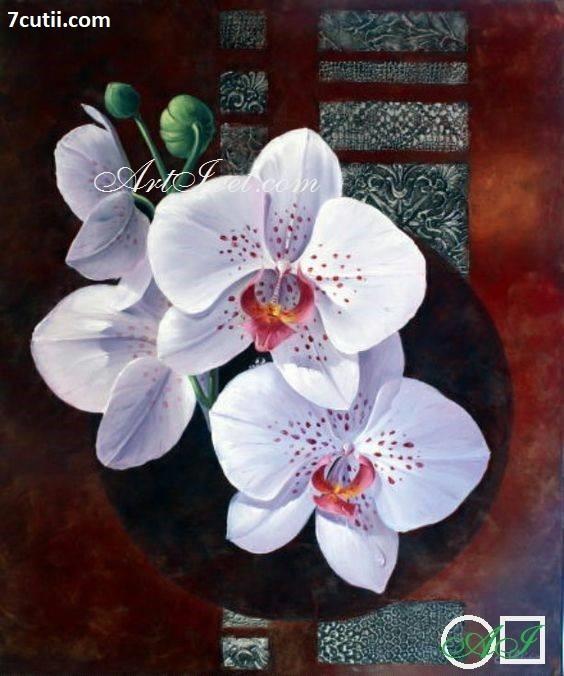 Goblen de diamante - Orchidea alba: Dimensiuni si tip - 30x25 cm Margele Patrate