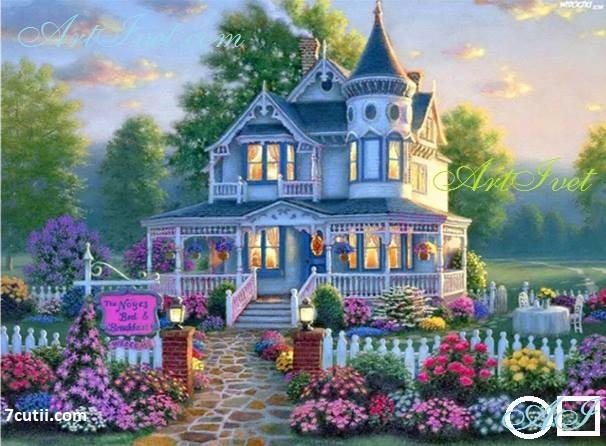 Goblen  de  diamante  Casa din vise: Dimensiuni si tip - 28x21 cm Margele Patrate