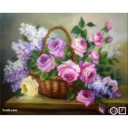 Goblen de diamante Flori de liliac si trandafiri
