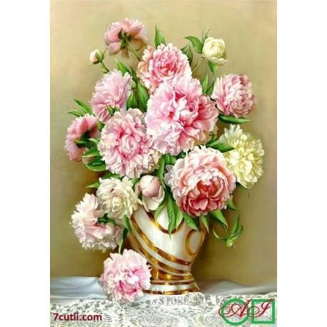 Goblen de diamante Bujori roz