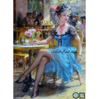 Goblen  de  diamante  Femeia din Paris cu rochia albastra