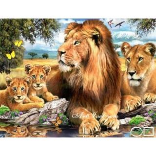 Goblen  de  diamante  Lions la râu