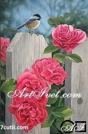 Goblen  de  diamante  Pitigoiul langa trandafirii: Dimensiuni si tip - 30x20 cm Margele Patrate