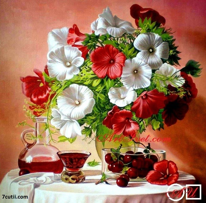 Goblen  de  diamante  Flori si cirese: Dimensiuni si tip - 25x25 cm Margele Rotunde (Circulare)