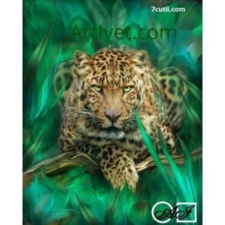 Goblen  de  diamante  Leopard printre frunze