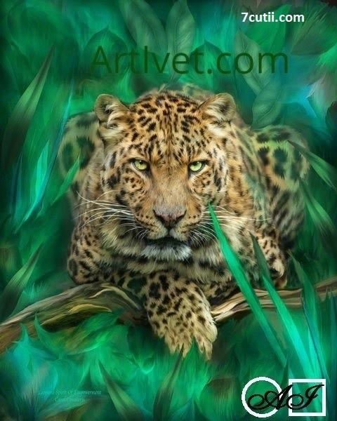 Goblen  de  diamante  Leopard printre frunze: Dimensiuni si tip - 40x32 cm Margele Patrate