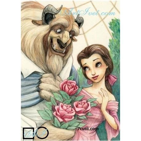 Goblen  de  diamante  Frumoasa si bestia - istoria unei iubiri
