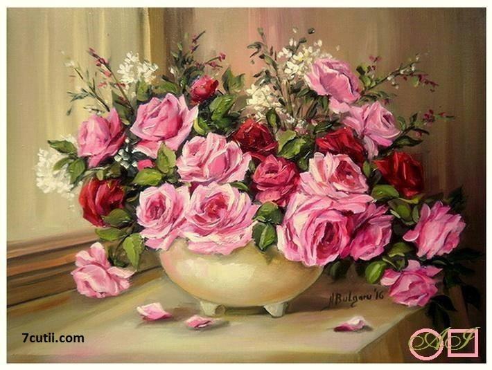 Goblen  de  diamante  Inspiratie roz: Dimensiuni si tip - 33x24 cm Margele Patrate