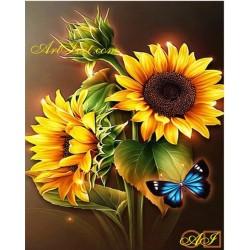 Goblen de diamante Sclipitul florii soarelui si fluturele albastru