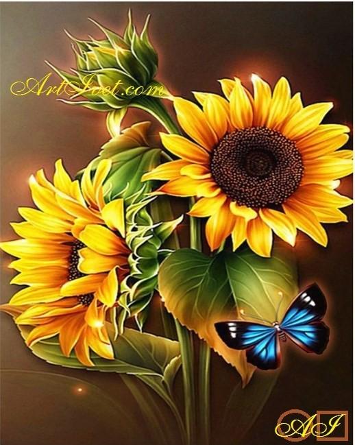 Goblen  de  diamante  Sclipitul florii soarelui si fluturele albastru: Dimensiuni si tip - 25x20 cm Margele Rotunde (Circulare)
