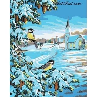 Pictura pe numere – Doi pitigoi la plimbare iarna