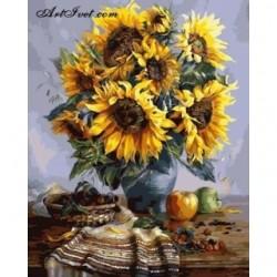 Pictura pe numere - Natura statica cu floarea soarelui
