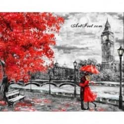 Pictura pe numere - Sub artarul cu frunze rosii