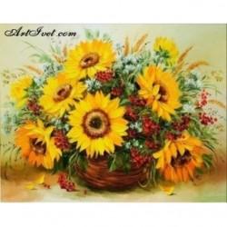 Pictura pe numere - Caldura si floarea soarelui