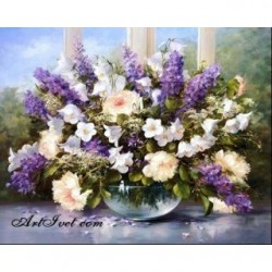Pictura pe numere - Flori de levantica si clopotele