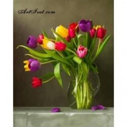 Pictura pe numere - Lalele in vaza
