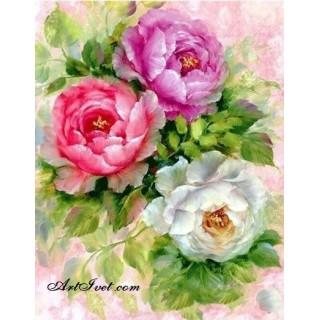 Pictura pe numere - Trei flori delicate