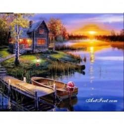 Pictura pe numere - Apus deasupra lacului
