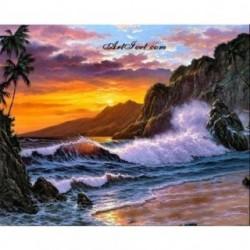 Pictura pe numere - Uraganul la isla tropicala